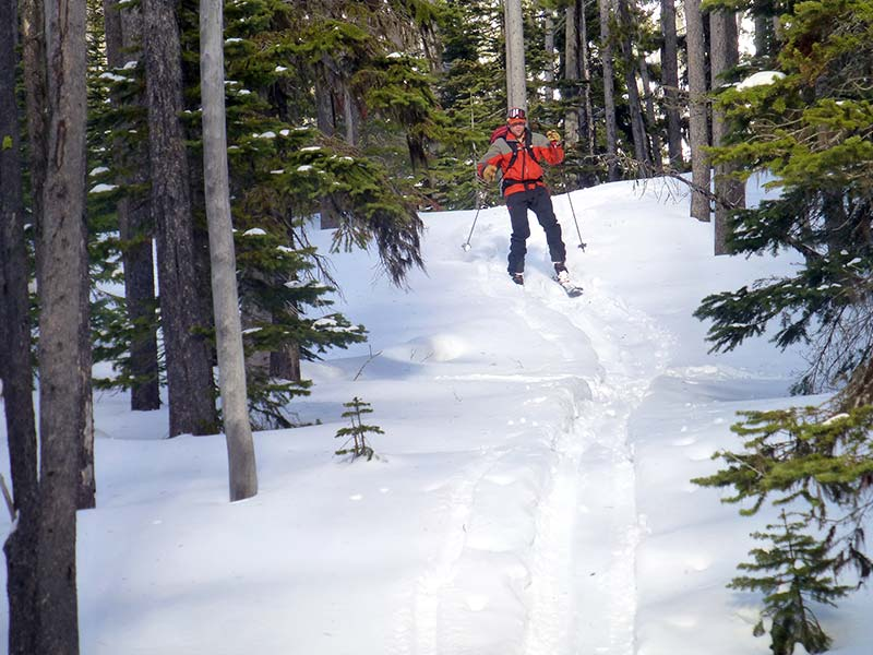 Back country skiing in Waterton