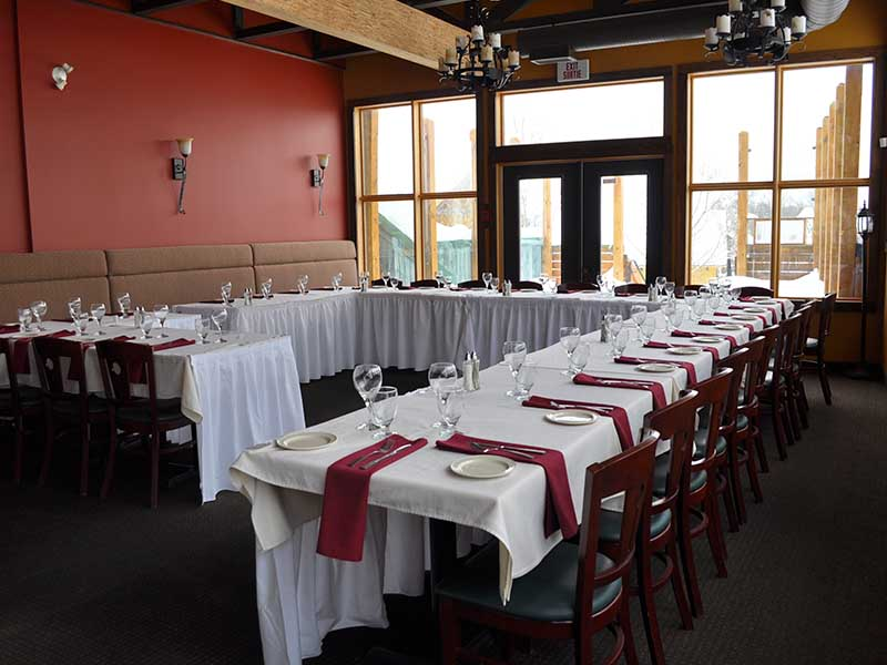 Vimy's Lounge and Grill upstairs dining room wedding reception setup.